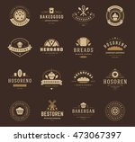 bakery shop logos  badges and... | Shutterstock .eps vector #473067397