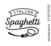 pasta logo design with spoon... | Shutterstock .eps vector #473075533