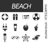 beach icon set. design trend.
