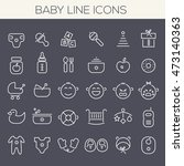 inline baby icons collection | Shutterstock .eps vector #473140363