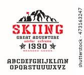 stencil plate serif font.... | Shutterstock .eps vector #473163247