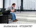 sad headache middle age man... | Shutterstock . vector #473184787