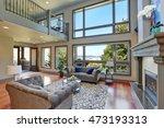grey interior of high vaulted... | Shutterstock . vector #473193313