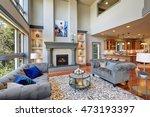 grey interior of high vaulted... | Shutterstock . vector #473193397