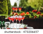pyramid of glasses with wine on ... | Shutterstock . vector #473206657