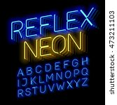 reflex neon font vector... | Shutterstock .eps vector #473211103
