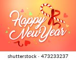 happy new year card. orange... | Shutterstock . vector #473233237