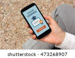 hand holding smart phone with... | Shutterstock . vector #473268907
