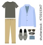 set of trendy men's clothes.... | Shutterstock .eps vector #473315347