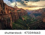 sunset on canyon overlook  zion ... | Shutterstock . vector #473344663