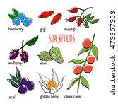 set of vector doodle... | Shutterstock .eps vector #473357353