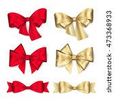 set of red and gold bows.... | Shutterstock .eps vector #473368933