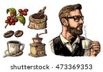 hipster barista holding a cup... | Shutterstock .eps vector #473369353