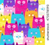 Stock vector cute cats colorful seamless pattern background 473378593