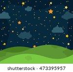 cute vector nighttime landscape ... | Shutterstock .eps vector #473395957