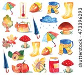 set of watercolor icons hello... | Shutterstock . vector #473396293