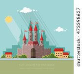cityscape. medieval castle in... | Shutterstock .eps vector #473398627