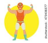 masked wrestling fighter pose...   Shutterstock .eps vector #473438377