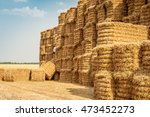 bale of hay group in a pyramid... | Shutterstock . vector #473452273