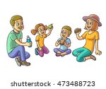 happy family sitting and eating.... | Shutterstock .eps vector #473488723