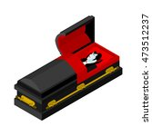 dracula in coffin. vampire... | Shutterstock .eps vector #473512237
