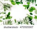 frame with flowers  branches ... | Shutterstock . vector #473535307