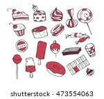 sweets on a white background.... | Shutterstock .eps vector #473554063