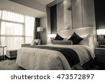 hotel room or bedroom interior. ... | Shutterstock . vector #473572897
