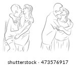 a man kisses a woman. embrace.... | Shutterstock .eps vector #473576917