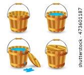 Set Of Wooden Buckets. Wooden...