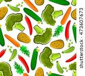 seamless organic vegetables...   Shutterstock .eps vector #473607673