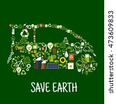 eco car composed of green... | Shutterstock .eps vector #473609833