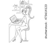 coloring book with girl working ... | Shutterstock .eps vector #473614123