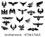 heraldic black eagles  falcons... | Shutterstock . vector #473617663