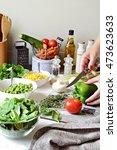 homemade salad. healthy... | Shutterstock . vector #473623633