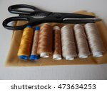 spools brown thread with... | Shutterstock . vector #473634253
