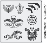 collection of gun club emblems  ... | Shutterstock .eps vector #473638897