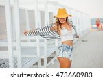 attractive sexy young woman... | Shutterstock . vector #473660983