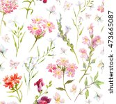 watercolor floral pattern ... | Shutterstock . vector #473665087