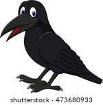 cartoon raven isolated on white ... | Shutterstock . vector #473680933