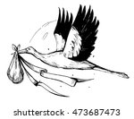 stork with baby. vector sketch... | Shutterstock .eps vector #473687473