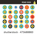 road sign concept flat icons. | Shutterstock .eps vector #473688883