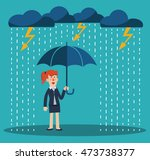happy business woman standing... | Shutterstock .eps vector #473738377