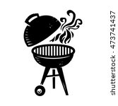 bbq grill cooking with smoke... | Shutterstock . vector #473741437