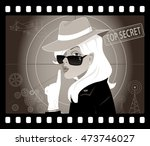 mystery woman in an old movie... | Shutterstock .eps vector #473746027