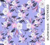 seamless floral pattern   Shutterstock .eps vector #473749303