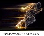 fast running man 3d of splines... | Shutterstock . vector #473769577