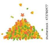 vector pile of autumn leaves.... | Shutterstock .eps vector #473780977