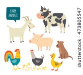 set of cute farm animals.... | Shutterstock .eps vector #473805547