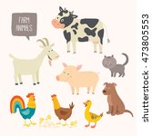 set of cute farm animals.... | Shutterstock .eps vector #473805553